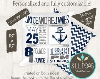 Nautical Nursery Decor, Nautical Pillow, Personalized Anchor Nursery Pillow, Nautical Birth Stats, Nautical Baby Gift, Anchor Baby Decor