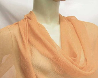 Shabby peach  5mm Pure Silk Crinkle Chiffon Fabric dressmaking material sheer 2018-YRC-49 By the Yards or Meter