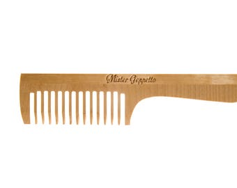 Wooden wide comb with handle