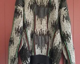 Juice knit sweater-leather trim