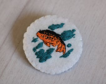 Japanese carp hand-embroidered pin