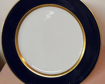 Fitz & Floyd Cobalt Renaissance with Gold Trim Dinner Plates