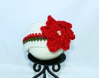 Crocheted Poinsettia Christmas Hat