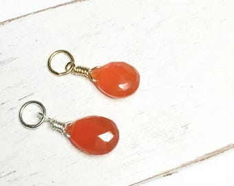 Carnelian pendant,14kt gold filled, faceted orange pendant, carnelian dangle, carnelian, faceted carnelian drop, wire wrapped carnelian