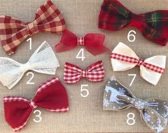 Christmas Bow, Baby Bow, Fleece, Plaid, Ribbon Bow, Baby fashion, Baby photo prop, Holiday, Baby bowtie, Infant bow, Toddler bow
