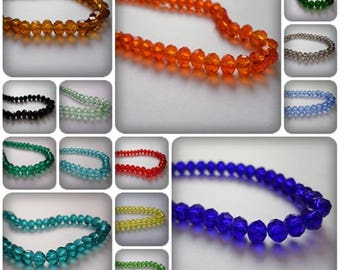6mm rondelle beads, Rondelle beads, Glass rondelle beads, Glass beads, Glass rondelle, Jewellery making, Rondelle, Faceted beads, 6mm, Facet