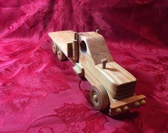 """Handcrafted 12"""" wooden flatbed truck"""