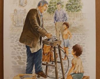 PROFESSIONS of THE PAST, Sharpener, Thessaloniki, (Aquarelle) 50x70cm, 2017