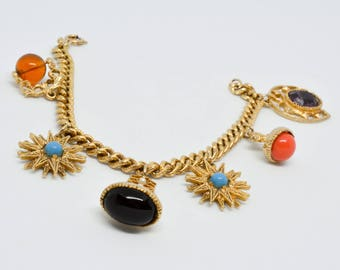 Vintage charm bracelet - 1980s -  costume jewellery -  gold tone -  Mothers Day - Gift for her