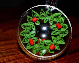 Paper Christmas wreath in Christmas Bauble, clear ball, hanging Christmas ornament, Quilled Christmas Wreath