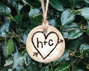 Wood Ornament with Initials and Heart