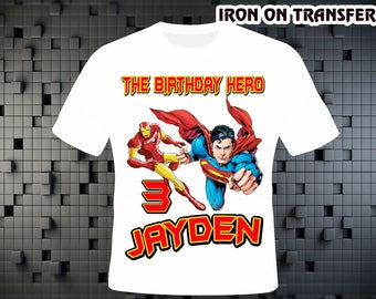 Superhero Iron On Transfer DIY , Superhero DIY Birthday Shirt , Personalize Digital Design , Iron On Transfer , Digital File , 300 DPI