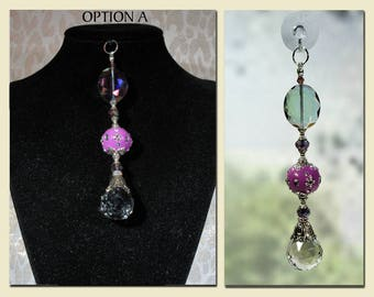 "Sun Catcher Pendant, ""Bohemian Sphere"" Purple, Jewelry for Window or Wear,  Gift, Garden, Souvenir, Fashion Accessory, Ornament."