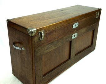 Antique Wooden Watch Makers Box / Cabinet / Chest