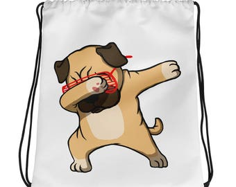 Pug Dabbing Cute Dab Dance Funny Drawstring bag