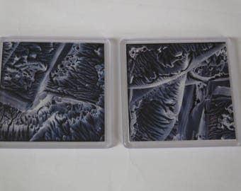 Encaustic Wax Art Painting Coaster Set