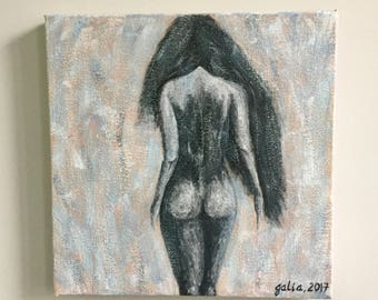 handmade acrylic painting on stretched 10x10 inch canvas naked woman nude