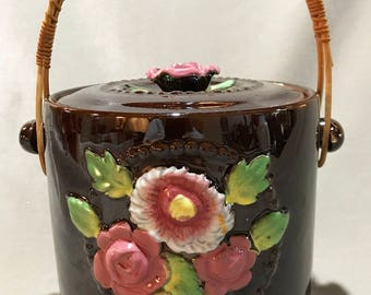 Beautiful Example of Vintage Brown Ceramic Cookie Jar w/ Detachable Rattan Handle
