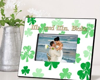 Personalized Raining Clovers Picture Frame - Irish Picture Frames - Wedding Photo Frames - Irish Wedding Photo Frames - Irish Wedding Gifts