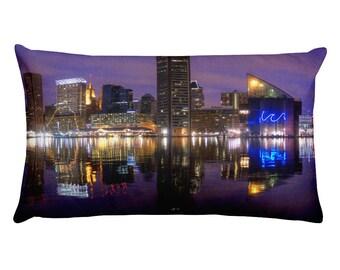 Baltimore Inner Harbor Skyline at Night Rectangular Pillow