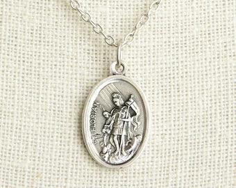 Saint Florian Medal Necklace. St Florian Necklace. Catholic Necklace. Patron Saint Necklace. Saint Medal Necklace. Catholic Jewelry.