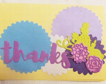 Thank You Greeting Card, Handmade Greeting Card,Colorgul Card,  Made in the USA, #74