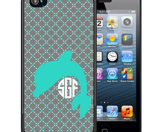 Monogrammed Rubber Case For iPhone X, 8, 8 plus, 7, 7 plus, 6s, 6s plus, 5, 5s, 5c, SE - Teal Gray Dolphin