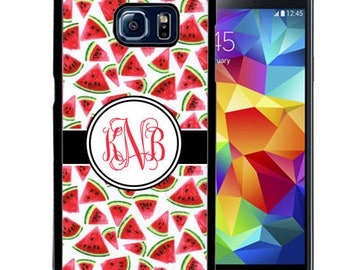 Monogrammed Rubber Case For Samsung S5, S6, S6 edge, S6 Edge Plus, S7, S7 Edge,  8, 8 plus - Watermelons