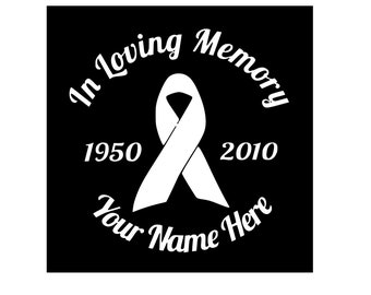 In Loving Memory Vinyl Car Decal, Car Decal, Vinyl Decal, In Memory, Window Decal, Breast Cancer Ribbon