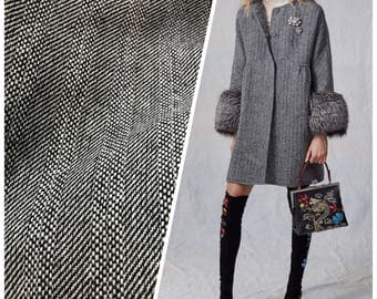 Designer Close Out Herringbone Wool Woven Suiting Coat Fabric Sold By The Yard