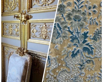 SWATCH- Made in Italy Novelty Brocade Damask Cut Out Velvet Fabric - Upholstery- Teal & Flax