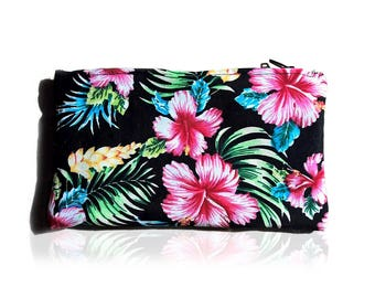 Tropical Hibiscus print clutch, purse
