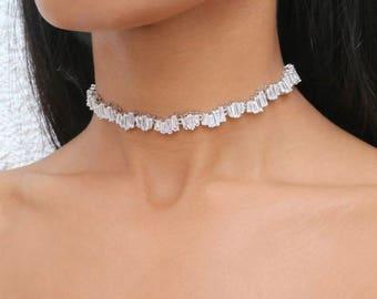 Silver Zirconia Choker Necklace