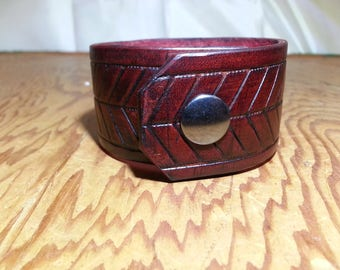 Custom Handmade Wrist Cuff Dark Red Vintage Wash with 'Flying V' Design Made in the USA