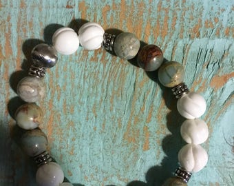 Half Moon Bay Beach-beaded gemstone bracelet