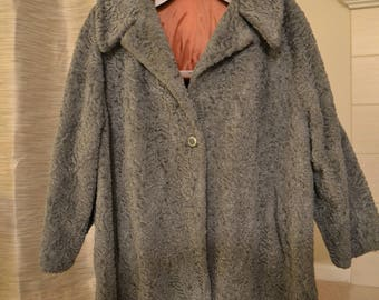 Vintage Roamans Faux Persian Lamb Swing Coat in Grey -- Unusual plus size!