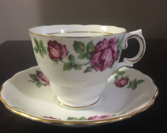 Colclough Purple Rose Teacup and Saucer
