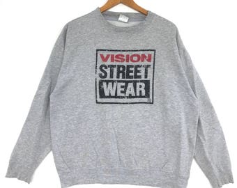 Vision street wear Sweatshirt white colour Big Logo Embroidery Sweat Medium Size Jumper Pullover Jacket Sweater Shirt Vintage 90's