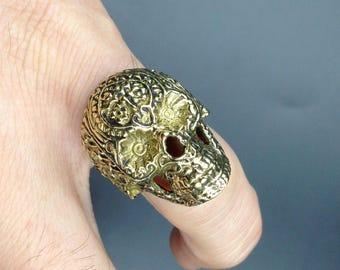 Mexican skull  brass ring.