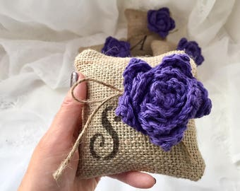 Monogramed Mini Pillow, *Grape* Burlap monogramed pillow, Set of 3,4,5  Burlap w/Flower, Bridesmaids' gift, Bridal Gift,Wedding Decor, Favor