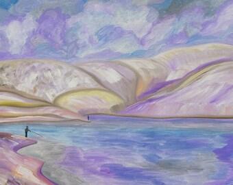 Original oil painting entitled 'Loch Frandy, Glendevon in Snow'.