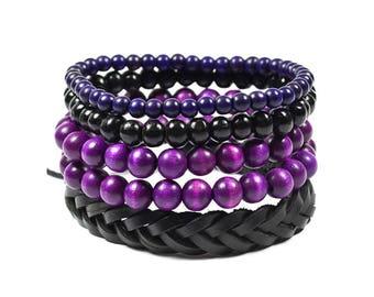 5 Pack Purple and Black Bracelet Set