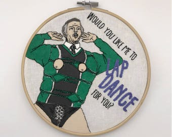 Alan Partridge Peephole Pringle Hand-Embroidered and Painted Hoop