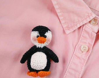 Handmade brooch. Little penguin.