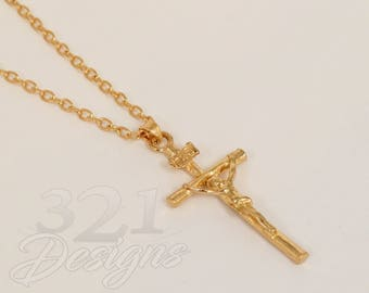 Gold or Platinum plated Jesus on Cross necklace