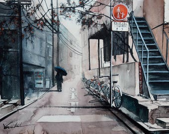 Watercolor street of Tokyo in the Japan