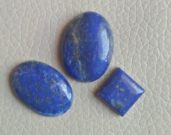 3 Piece Natural Blue Lapis Cabochon 63 Carat, Natural Lapis Cabochon,Blue Lapis for Jewelry Making Stone, Blue Lapis 100% Natural Lapis.
