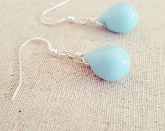 Light Turquoise Blue Earrings • Blue Dangle Earrings • Blue Teardrop Earrings • Easter Gifts Jewelry • Spring Jewelry • Easter  Jewelry