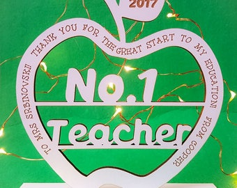 Personalised standing teachers apple