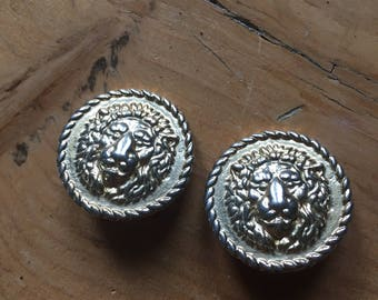 Vintage Versace Lion Clip-On Earrings
